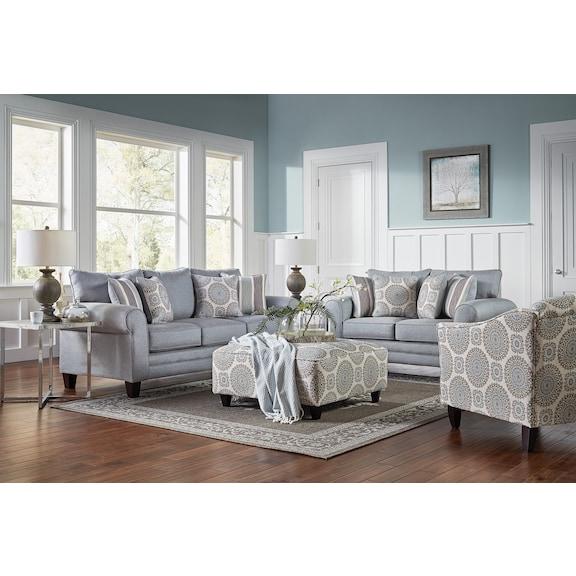 Living Room Furniture - Devon Accent Ottoman- Swirl