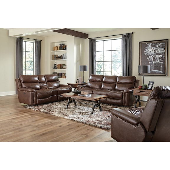 Living Room Furniture - Liberty Leather Power Reclining Loveseat