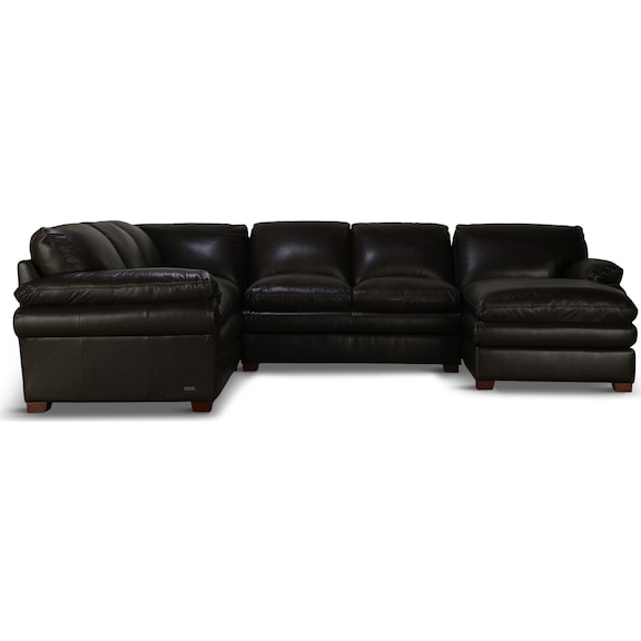Living Room Furniture - Rowan Brown Leather 3 Piece Sectional