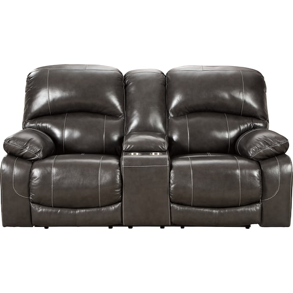 Living Room Furniture - Hallstrung Power Reclining Loveseat with Console- Gray