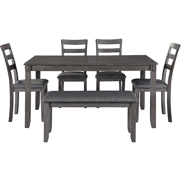Dining Room Furniture - Bridson Dining Table and Chairs with Bench (Set of 6)