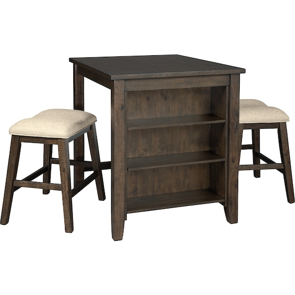 Dining Room Furniture - Rokane Counter Height Dining Table and Bar Stools (Set of 3)