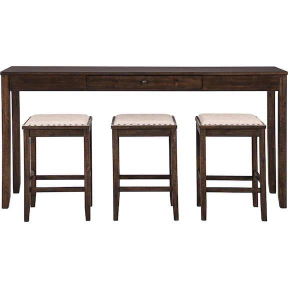Dining Room Furniture - Rokane Counter Height Dining Table and Bar Stools (Set of 4)