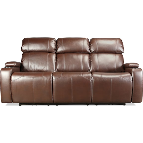 Living Room Furniture - Dynamo Power Reclining Sofa - Brown