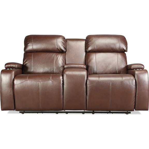 Living Room Furniture - Dynamo Power Reclining Loveseat - Brown