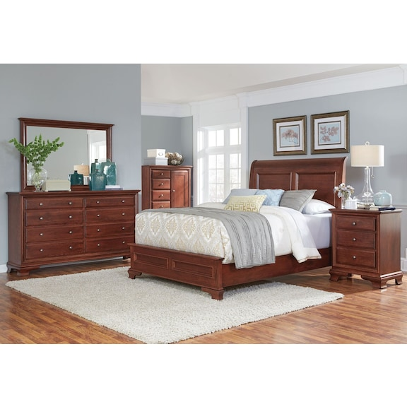 Bedroom Furniture - Amish Classic 4pc Queen Bedroom - 8 Drawers