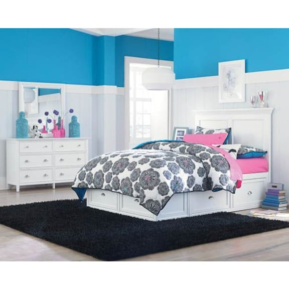 Kids Furniture - Ellsworth 4pc Full Bedroom with 1 Storage Unit - White