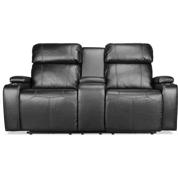 Living Room Furniture - Dynamo Power Reclining Loveseat - Black