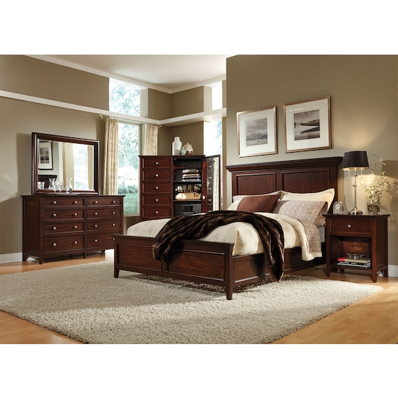 Bedroom Furniture - Ellsworth 4pc King Panel Bedroom - Cherry
