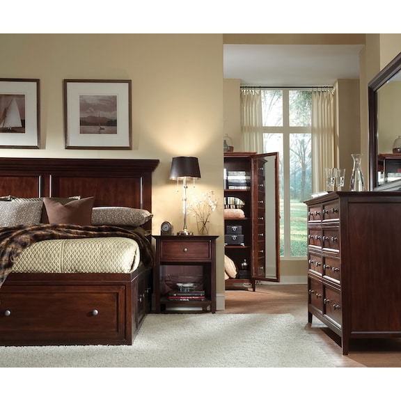 Bedroom Furniture - Ellsworth 4pc King Storage Bedroom - Cherry