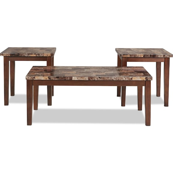 Accent and Occasional Furniture - Adelaide Coffee Table and 2 End Tables - Warm Brown with Faux Marble