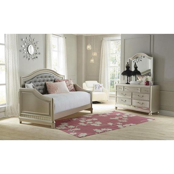 Kids Furniture - Lil' Posh 4-Piece Twin Daybed Bedroom Set - Platinum
