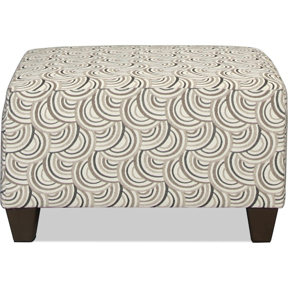 Living Room Furniture - Desmond Cocktail Ottoman - Silver