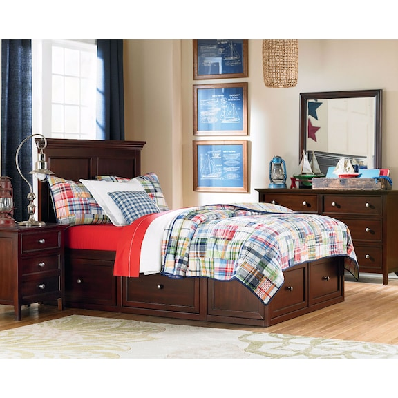Kids Furniture - Ellsworth 4pc Full Bedroom with 1 Storage Unit - Cherry