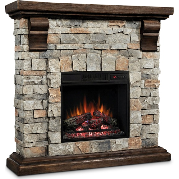 Accent and Occasional Furniture - Pioneer Fireplace - Dark Pine with Faux Stone