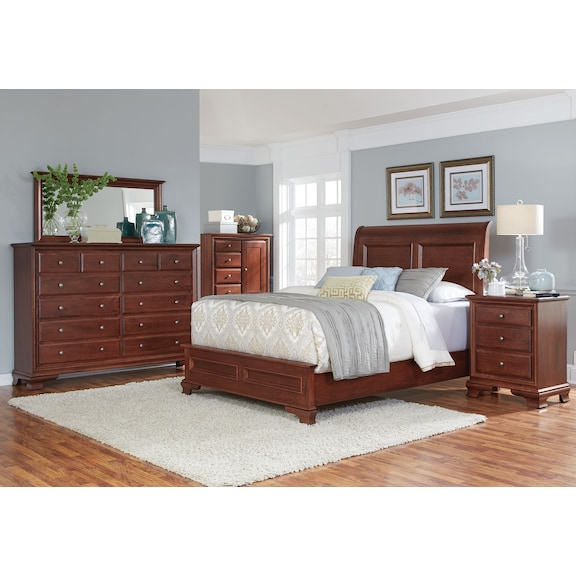 Bedroom Furniture - Amish Classic 4pc Queen Bedroom - 12 Drawers