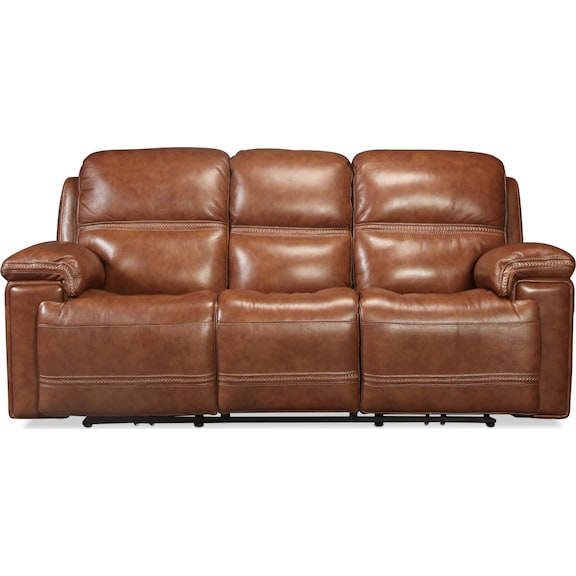 Living Room Furniture - Diego Power Reclining Sofa - Whiskey