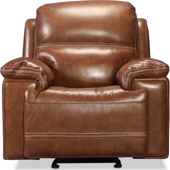Living Room Furniture - Diego Power Glider Recliner - Whiskey