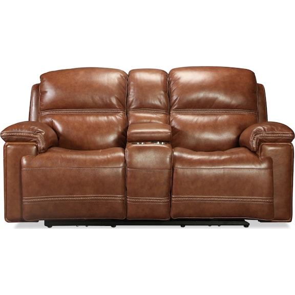 Living Room Furniture - Diego Power Reclining Console Loveseat - Whiskey