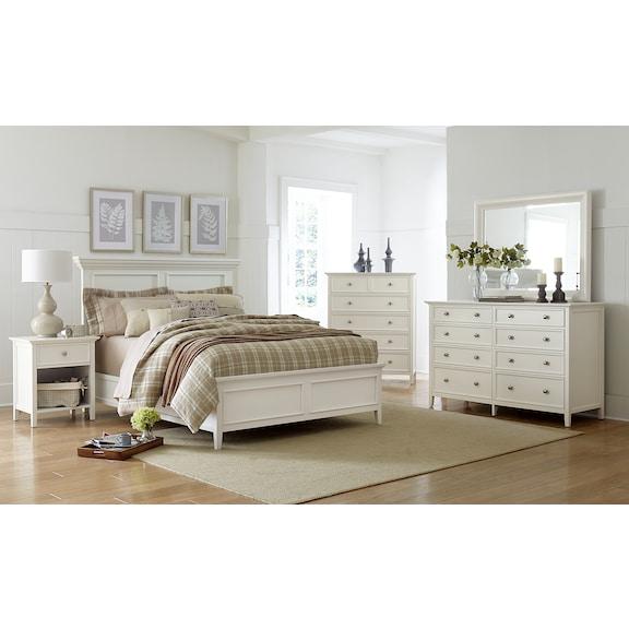Bedroom Furniture - Ellsworth 4pc Queen Bedroom - White