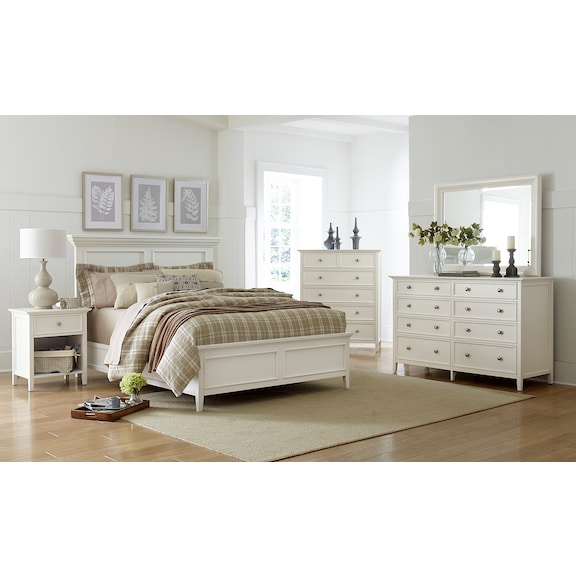 Bedroom Furniture - Ellsworth 4pc King Bedroom - White