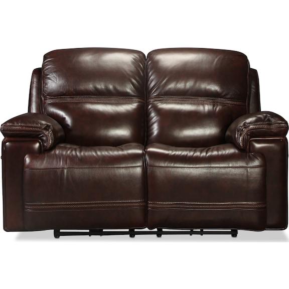 Living Room Furniture - Diego Power Reclining Loveseat - Dark Brown