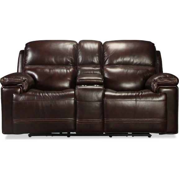 Living Room Furniture - Diego Power Reclining Console Loveseat - Dark Brown