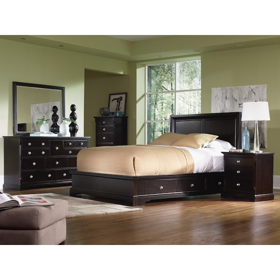 Bedroom Furniture - Georgetown 4pc Queen Bedroom (2 Storage Units) - Merlot