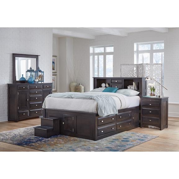Bedroom Furniture - Simplicity II 4pc King Bookcase Storage Bedroom