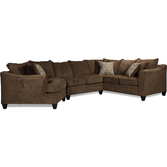 Living Room Furniture - Desmond 3-Piece Sectional - Truffle