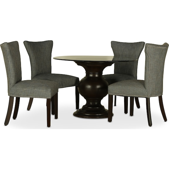 "Dining Room Furniture - Venus 48"" Glass Top 5pc Dining"