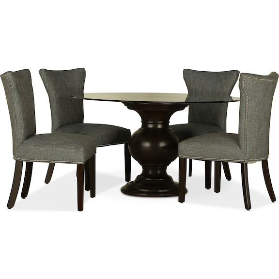 "Dining Room Furniture - Venus 54"" Glass Top 5pc Dining"