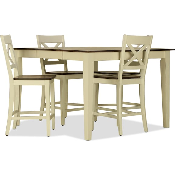 Dining Room Furniture - Sterling 5pc Counter Height Dining Set - White