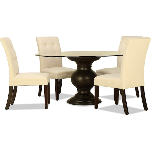 "Dining Room Furniture - Venus 60"" Glass Top 5pc Dining"