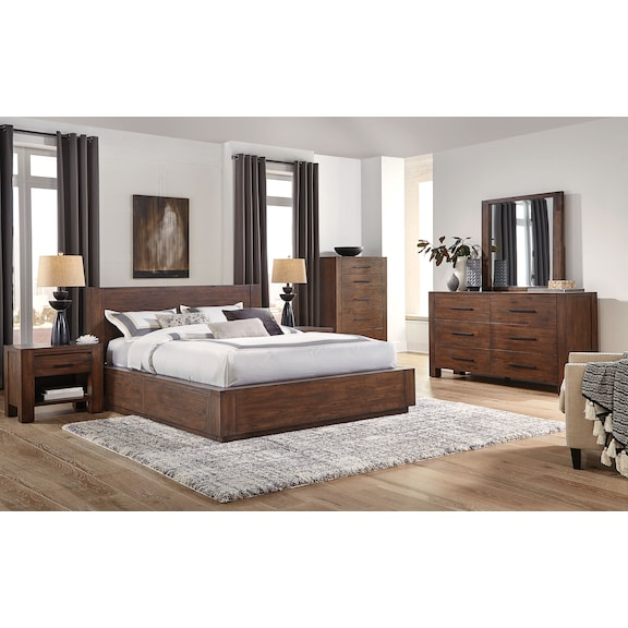 Bedroom Furniture - Cassia 4pc Queen Storage Bedroom - Two Sided