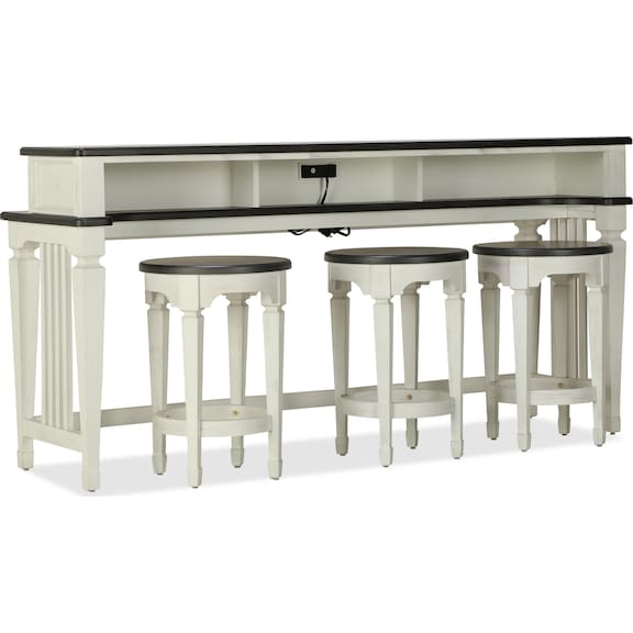 Accent and Occasional Furniture - Caden Sofa Bar Table and Three Stools
