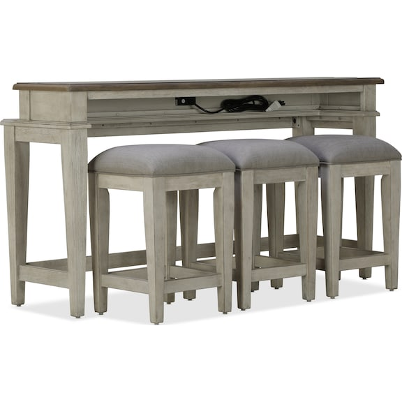 Accent and Occasional Furniture - Killian Sofa Bar Table and Three Stools