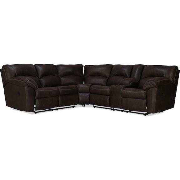 Living Room Furniture - Aykon 2pc Reclining Sectional - Canyon
