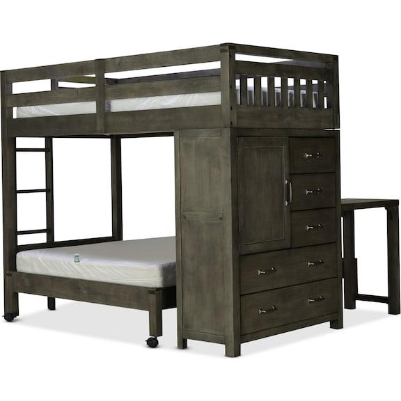 Kids Furniture - St. Croix Twin/Full Loft Bed - Charcoal