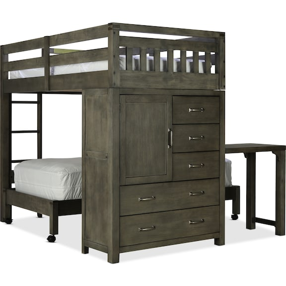Kids Furniture - St. Croix Twin/Twin Loft Bed - Charcoal