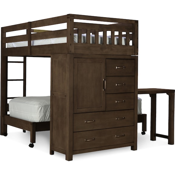 Kids Furniture - St. Croix Twin/Twin Loft Bed - Walnut