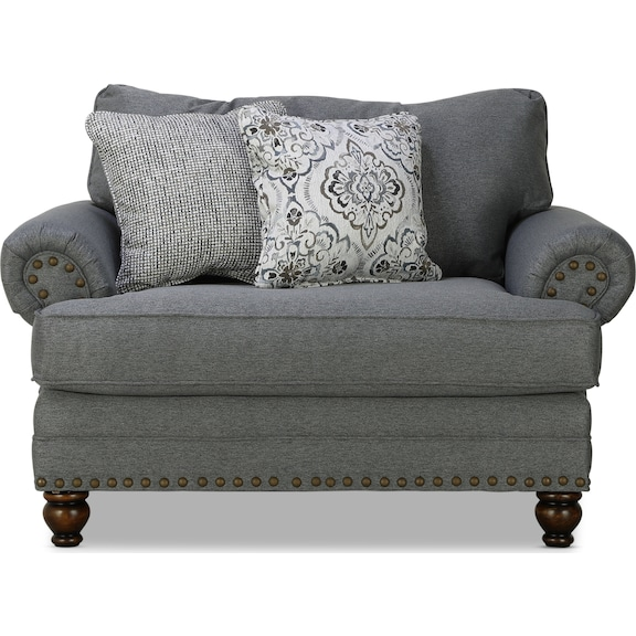 Living Room Furniture - Brookside Chair & 1/2 - Charcoal