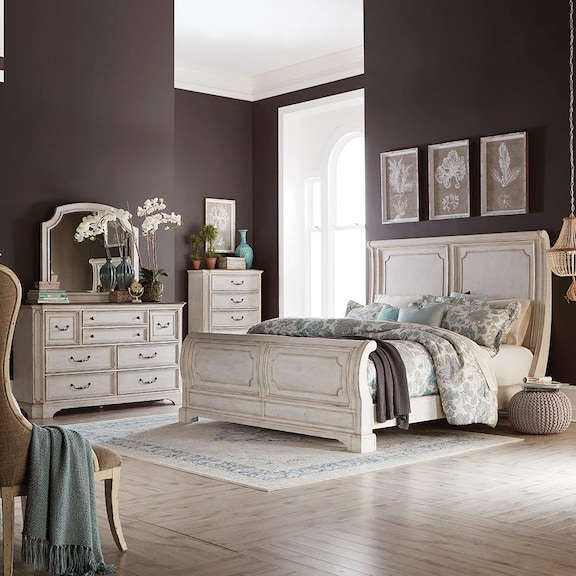 Bedroom Furniture - Sloane White King Sleigh Bed